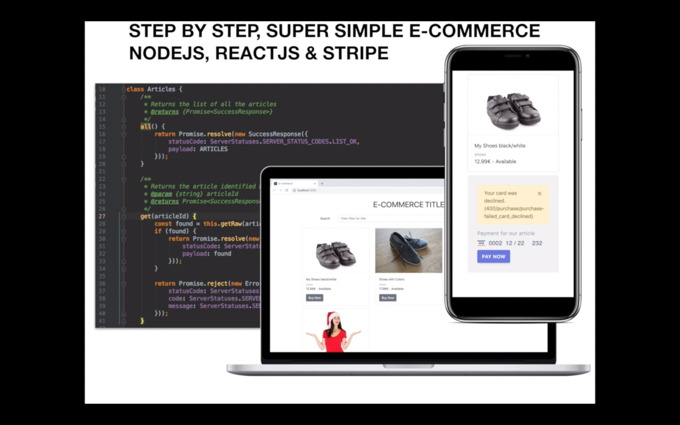Step by step, super simple E-Commerce with Node.js, Stripe payments and React interface