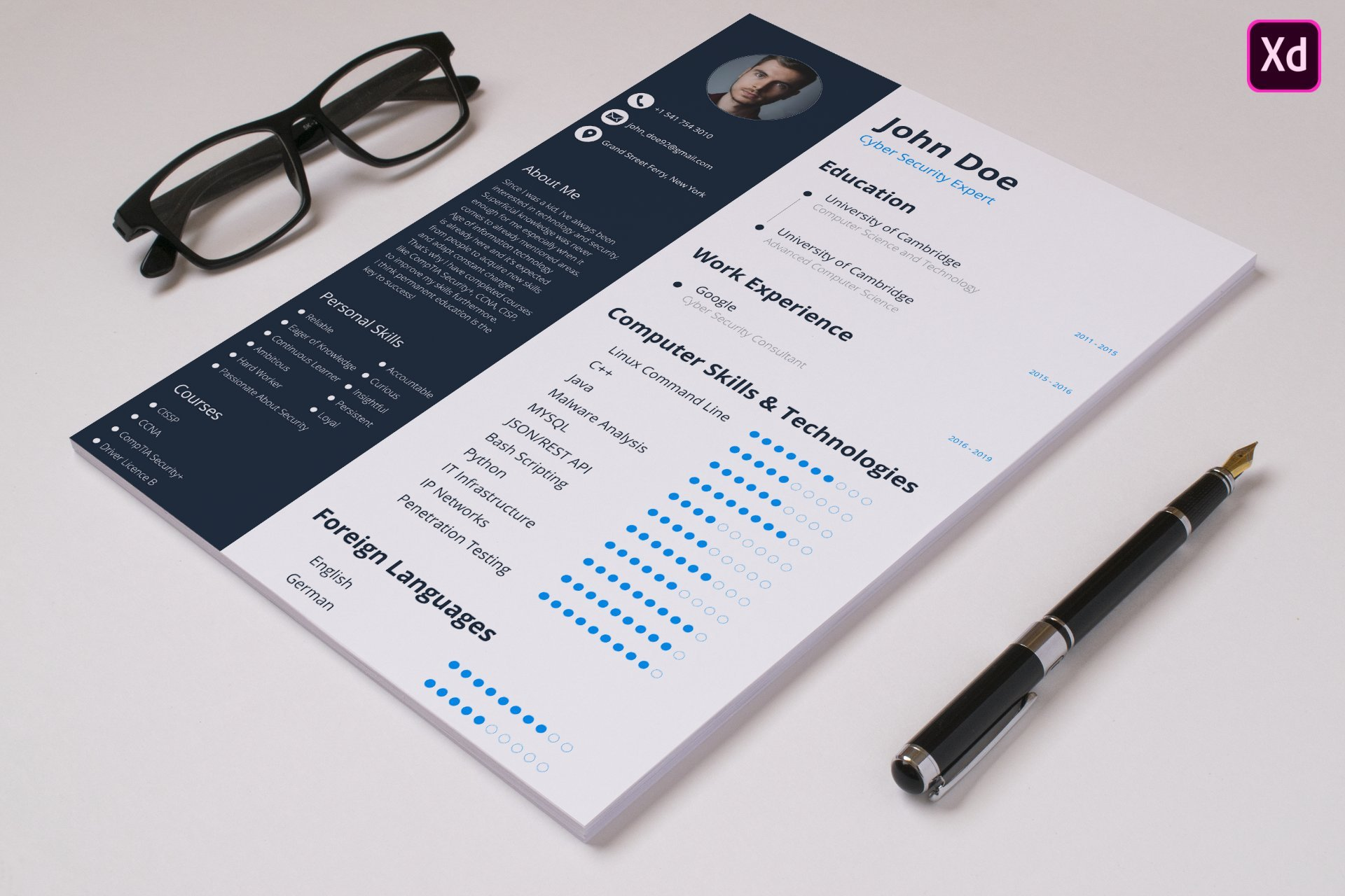 Design Professional CV/Resume for Your Dream Job   Adobe XD