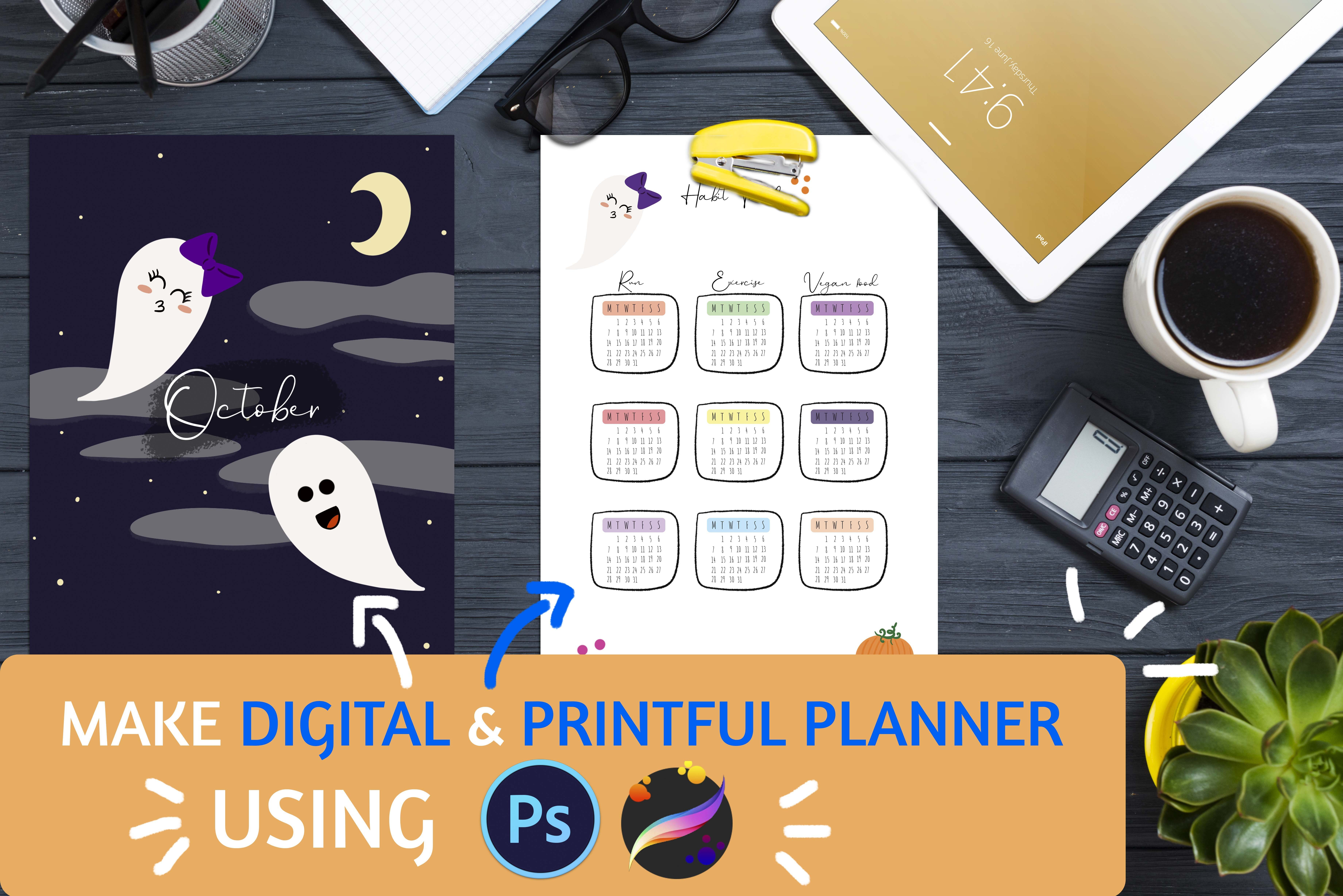 Easy, Digital, Printful, Planner Designed By You For You in Adobe Photoshop & Procreate