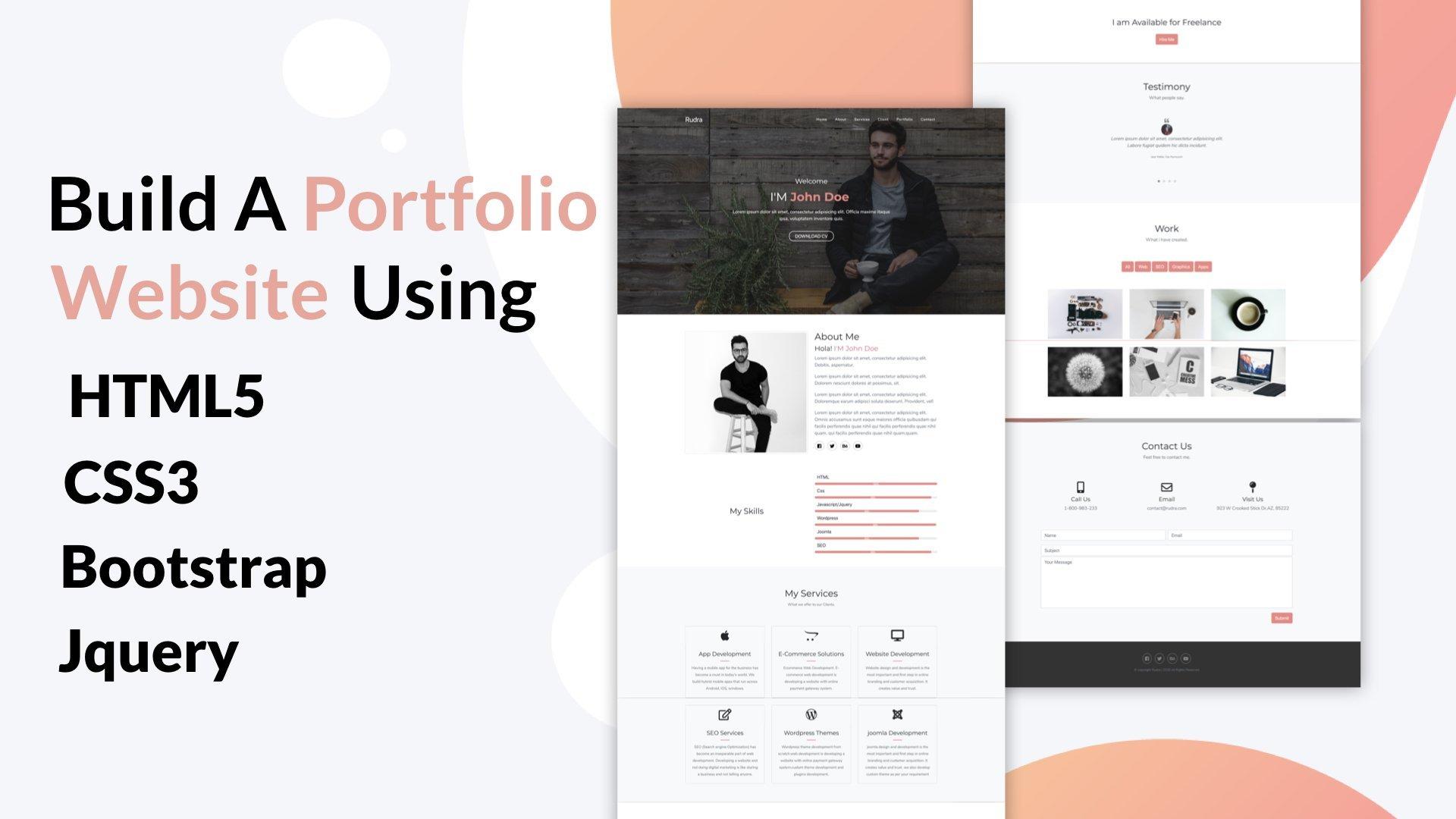Build a Portfolio Website Using HTML5, CSS3, Bootstrap 4 and Jquery